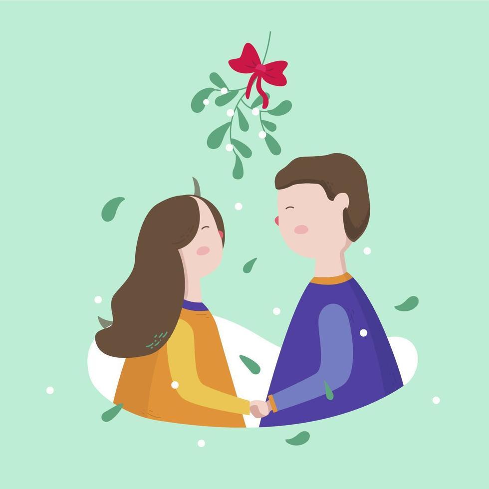 Young Couple Standing Under Mistletoe Vector