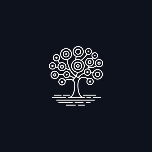 Ligne, arbre, sur, pré