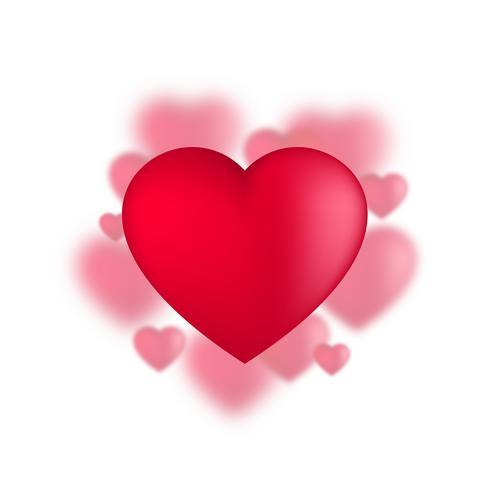 Valentines coeurs, ballons d'amour sur fond blanc