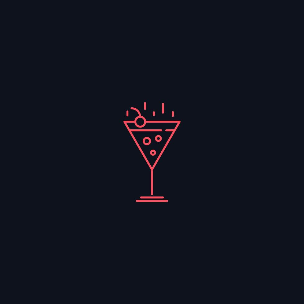 Line Symbol, Cocktail with cherry vecteur