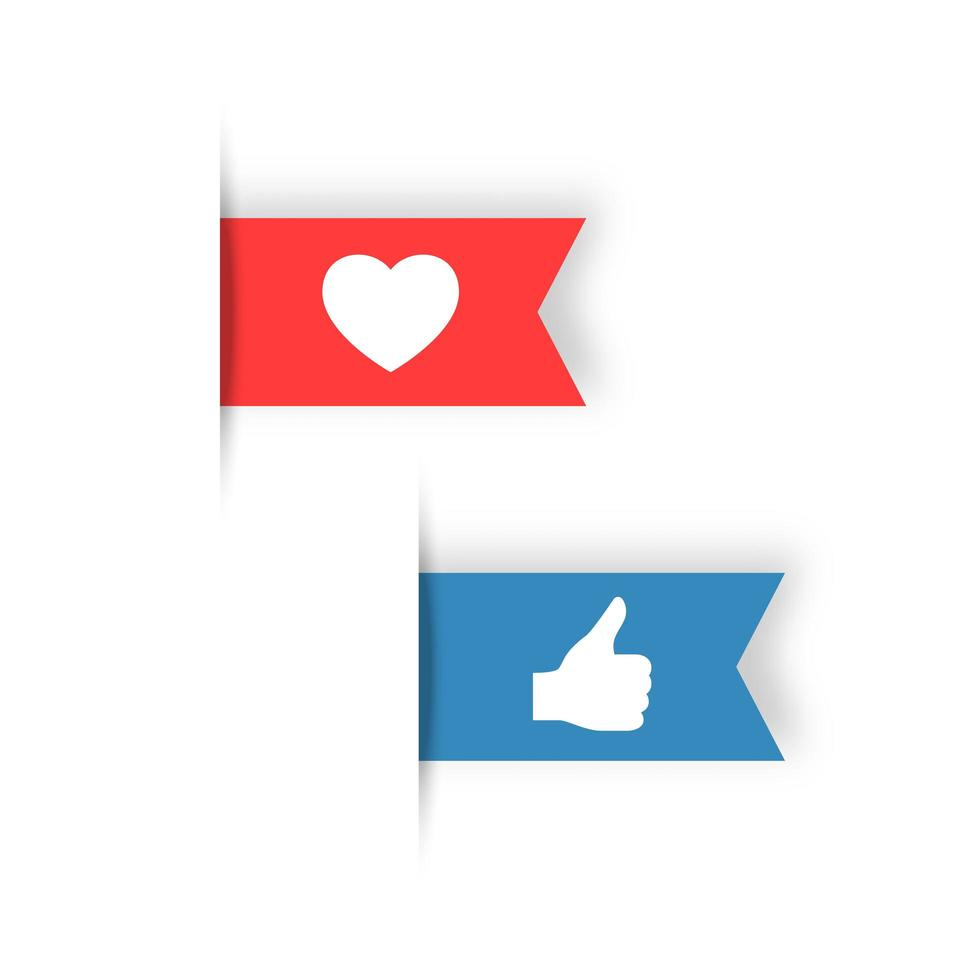 Like and love symbols, red and blue ribbon vetor