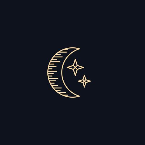 Símbolo de línea, luna con estrellas