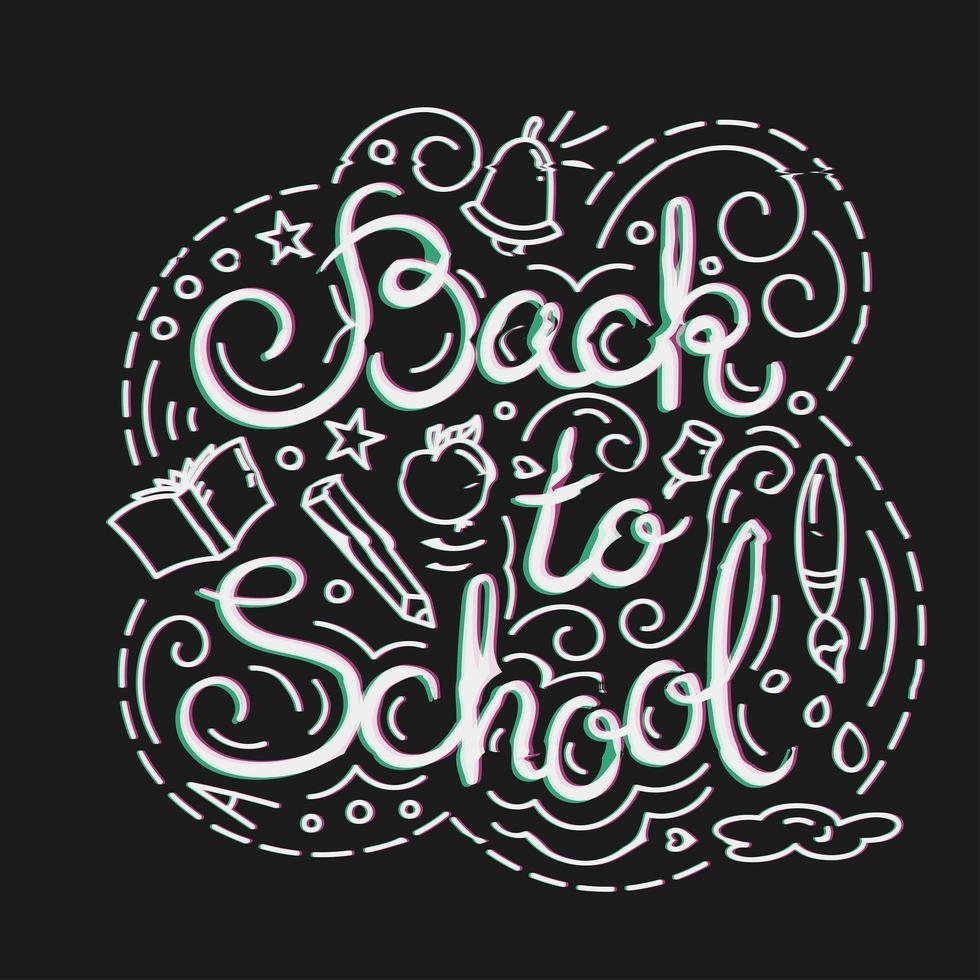 Volta para o cartão da escola. Ilustração vetorial