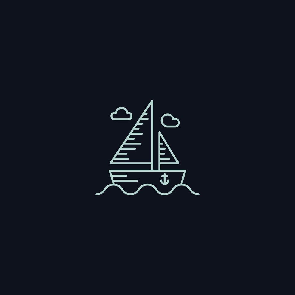 Símbolo de linha, barco no mar
