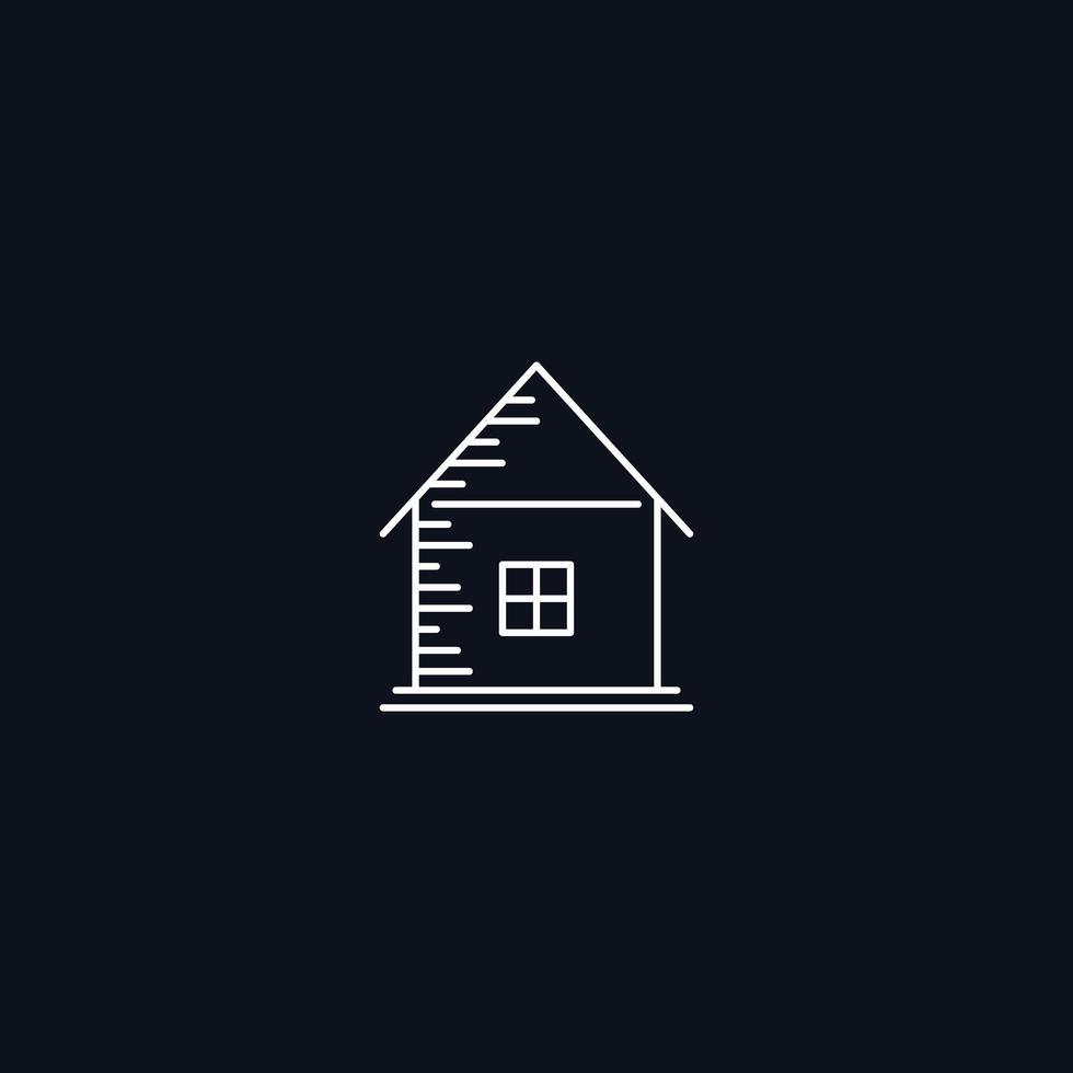Símbolo de linha, casa com janela, elemento de desenho vetorial