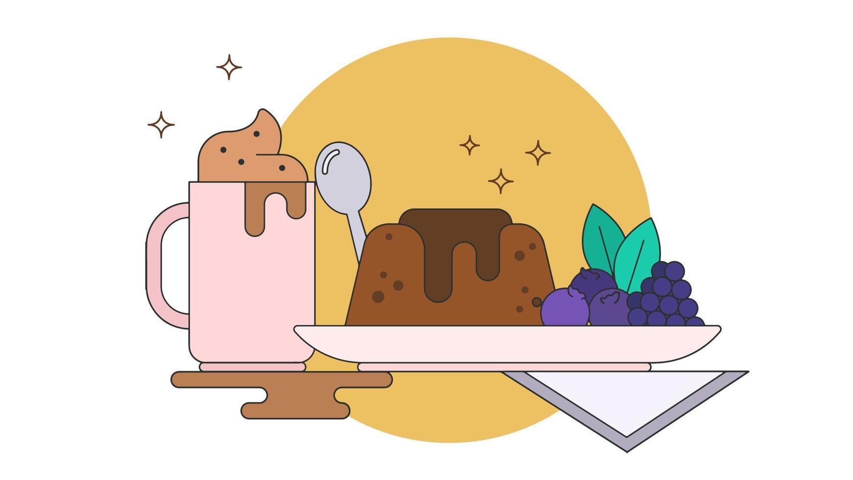 Vecteur De Café Et Dessert