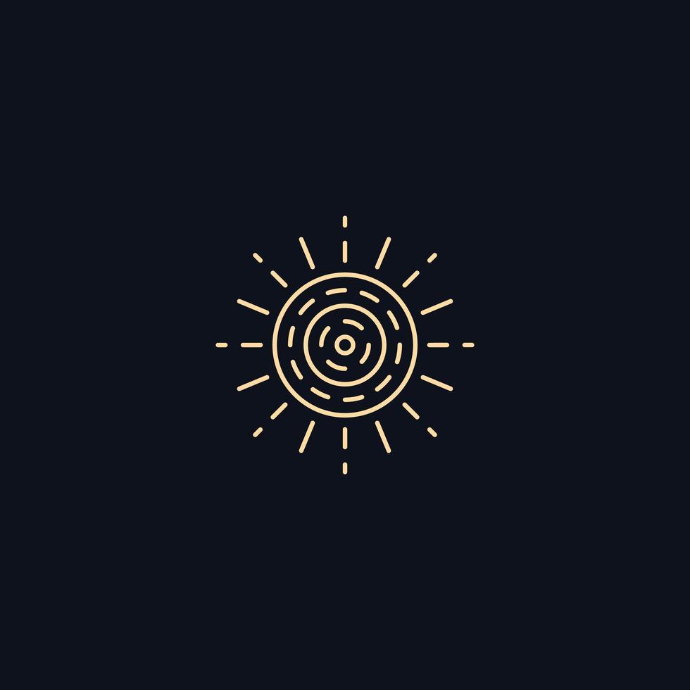 Symbole de la ligne, soleil avec rayons, élément de design vectoriel