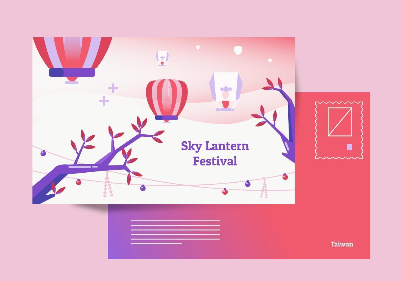 Taiwan Sky Lantern Postcard Background Vector Illustration