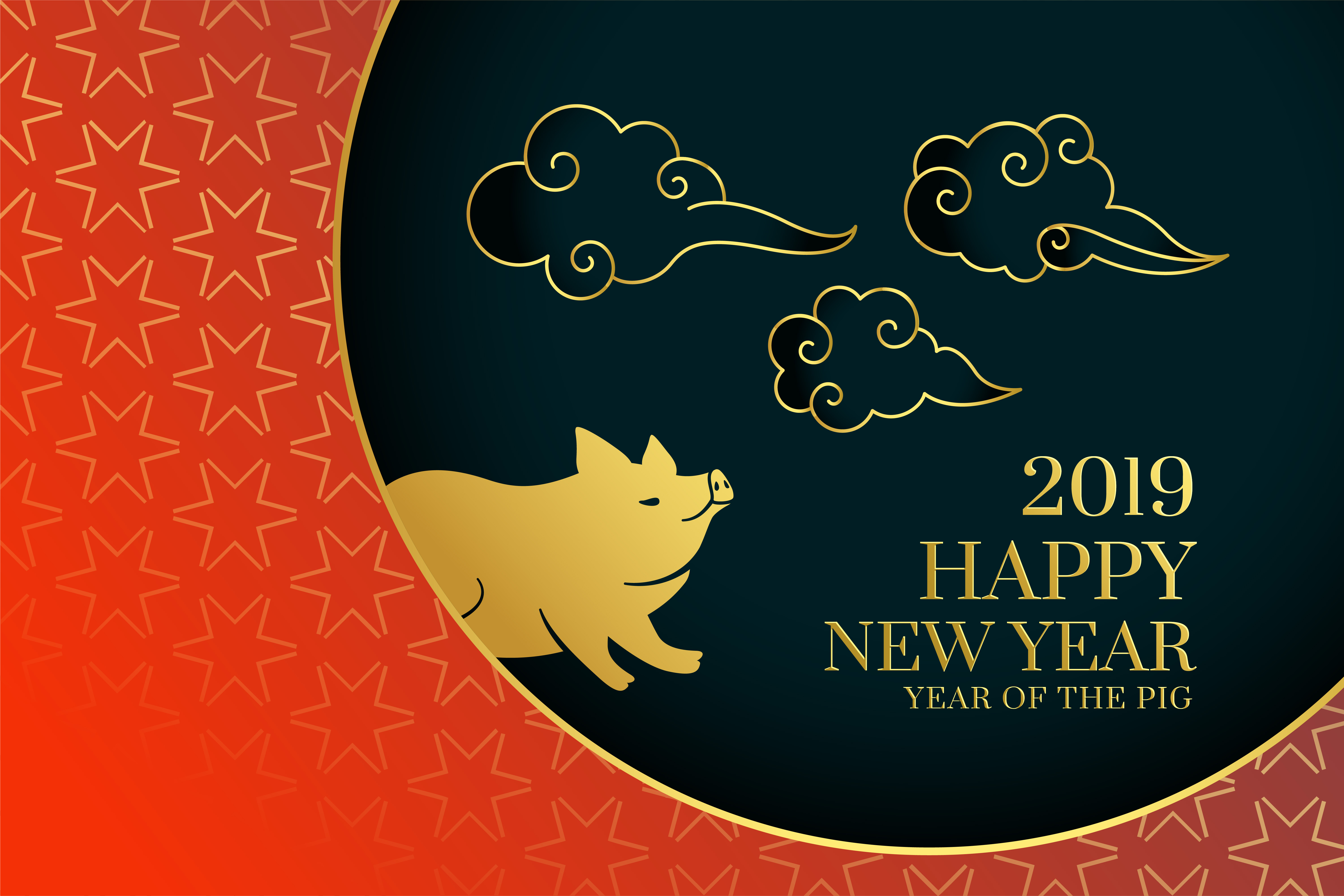Happy Chinese New Year 2019 Background With Pig And Cloud Download