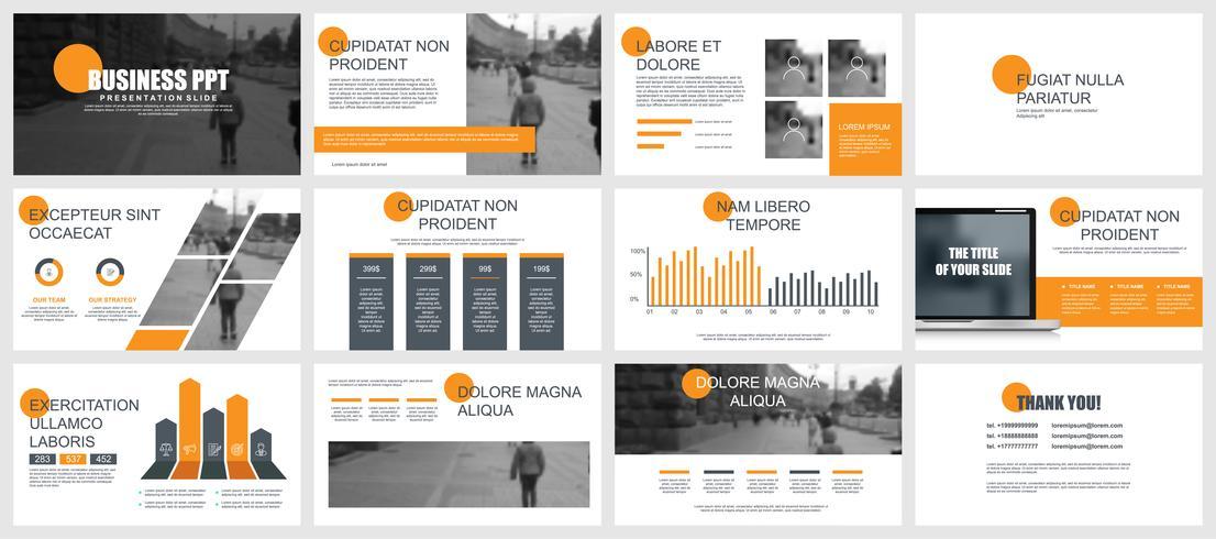 Oranje en grijze presentatiepresentaties
