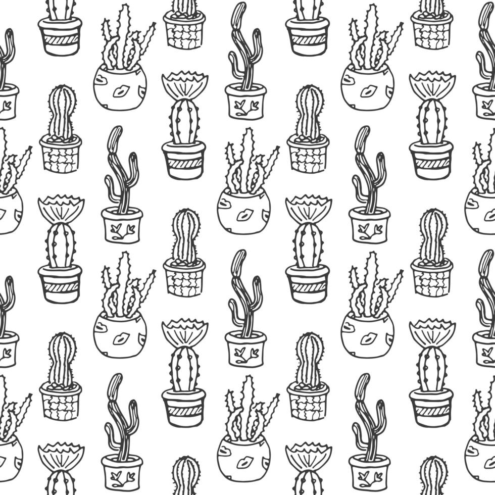 Cactus seamless pattern illustration. Vector succulent and cacti hand drawn set. In door plants in pots.