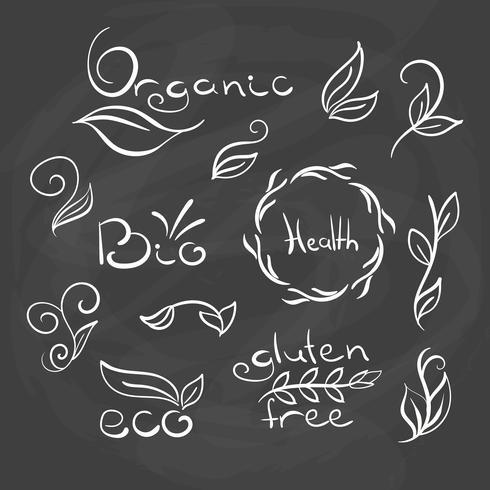 Tags e elementos de alimentos orgânicos