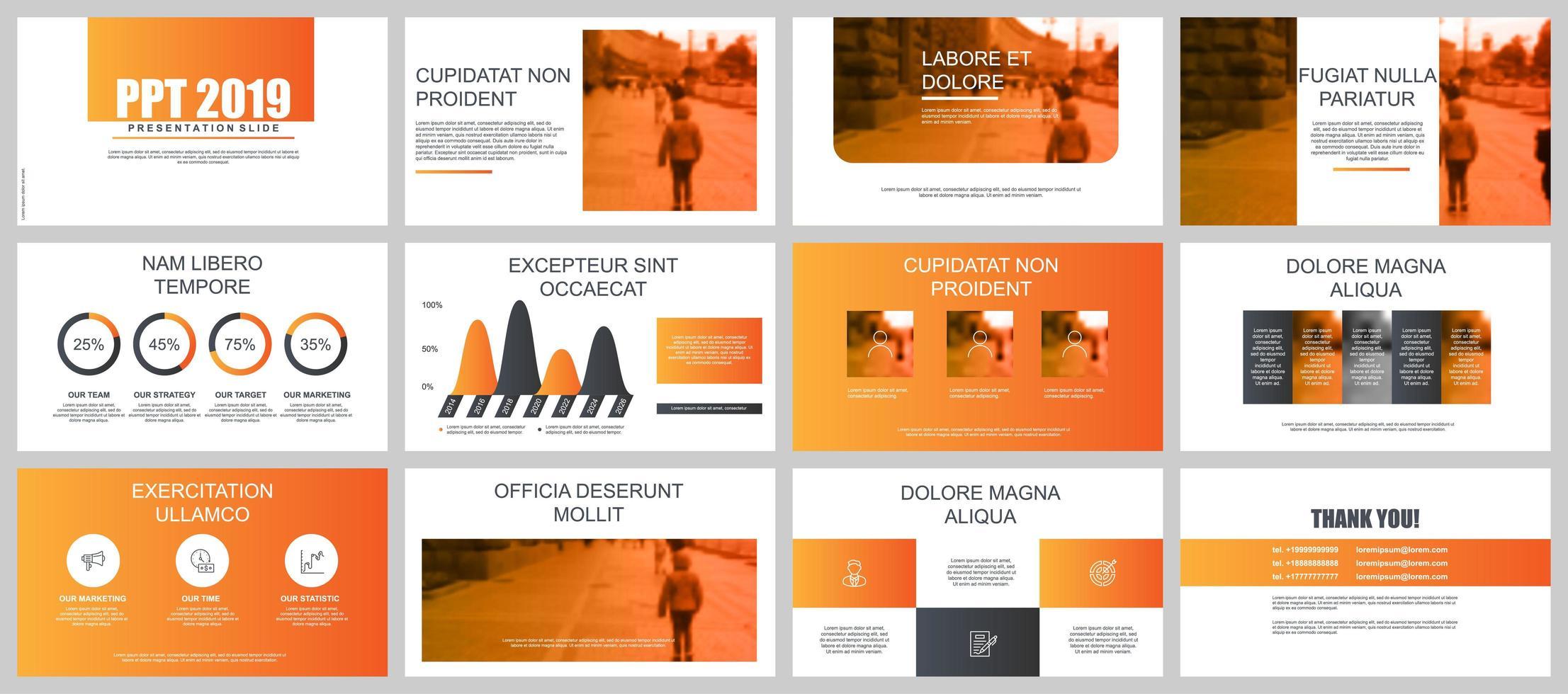 Orange Business Presentation Slides vector