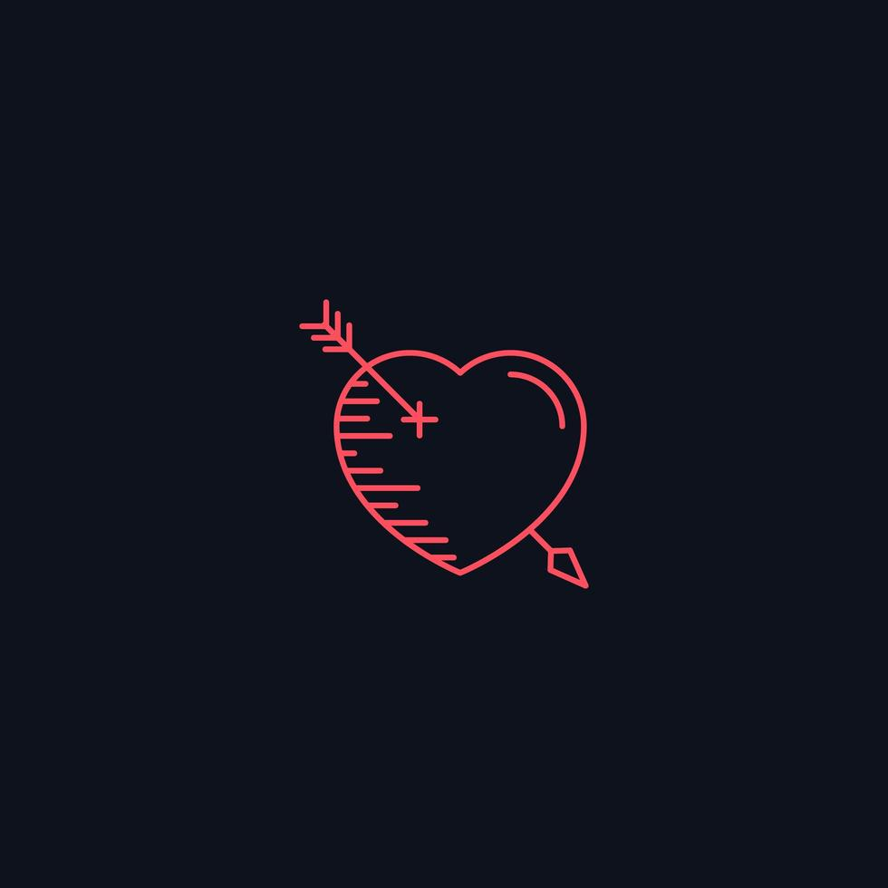 Line Symbol, Heart with arrow, vector design element
