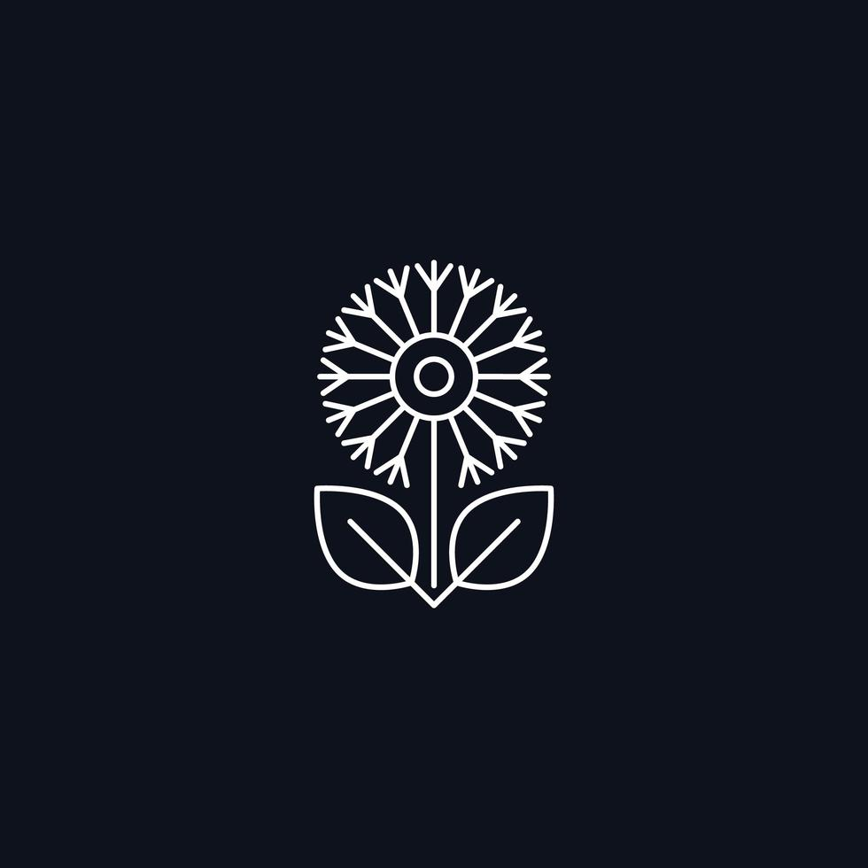 Linie Symbol, Blume mit Blättern, Vektorgestaltungselement