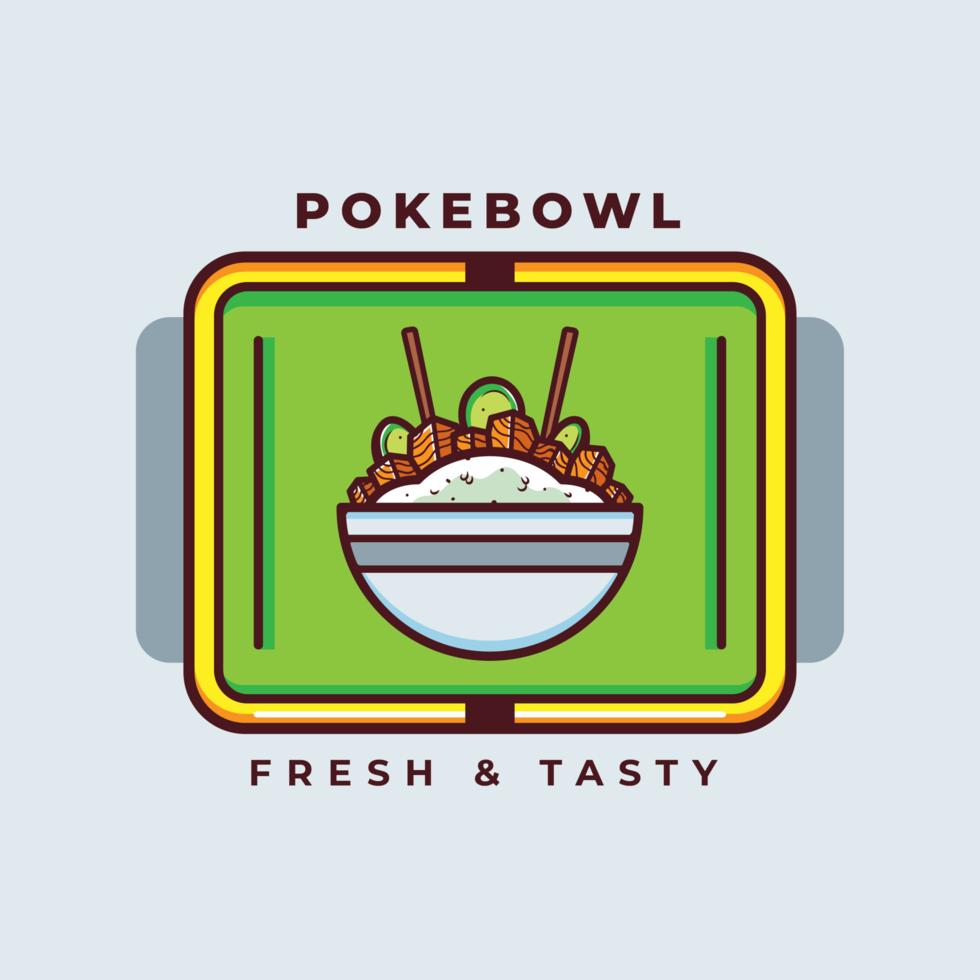 vettore hawaiian poke bowl