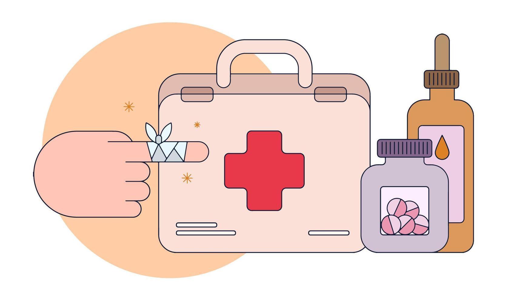 Vecteur de kit de premiers secours