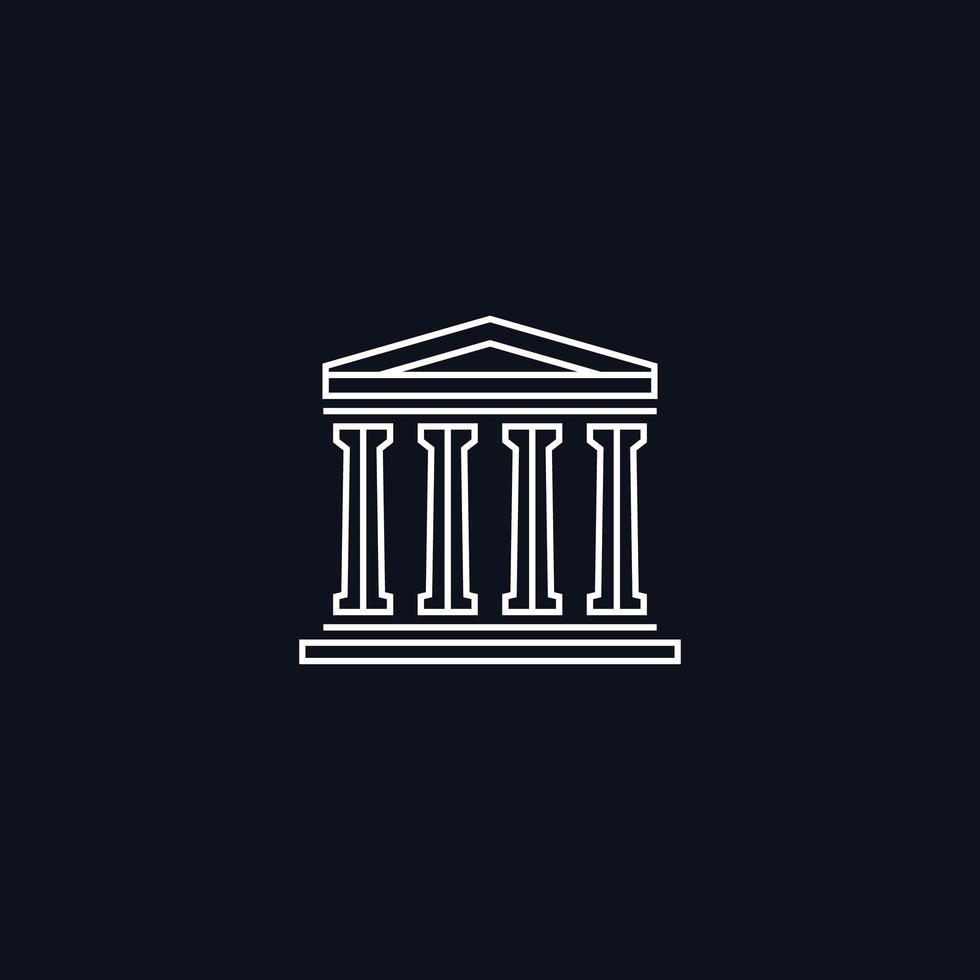 Zeichnen Sie Symbol, altgriechisches Gebäude, Vektorgestaltungselement