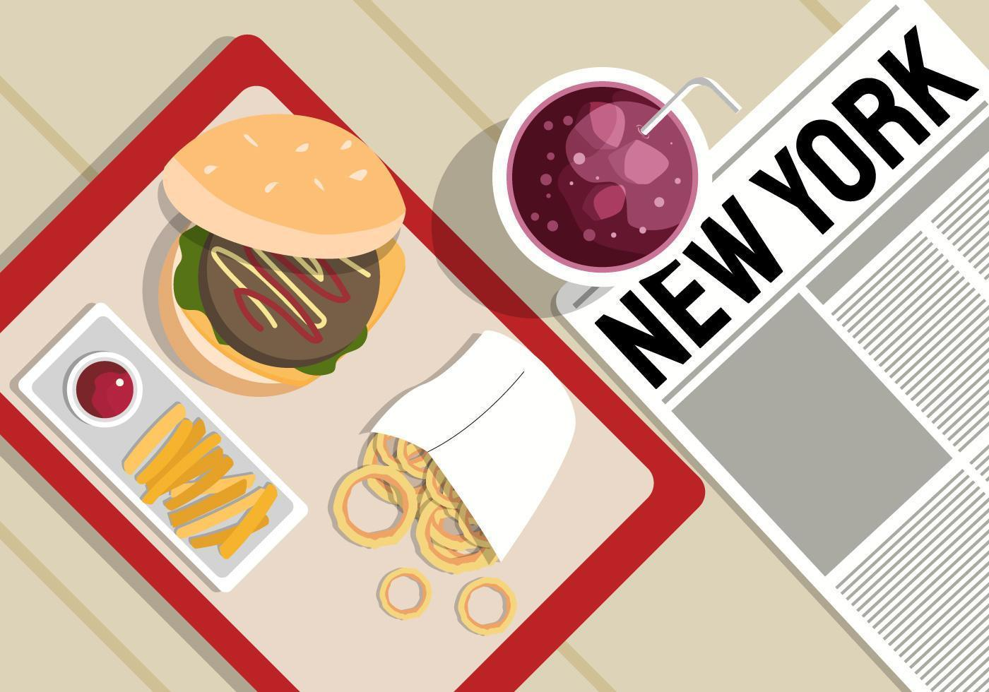 New York Food Background Illustration vector
