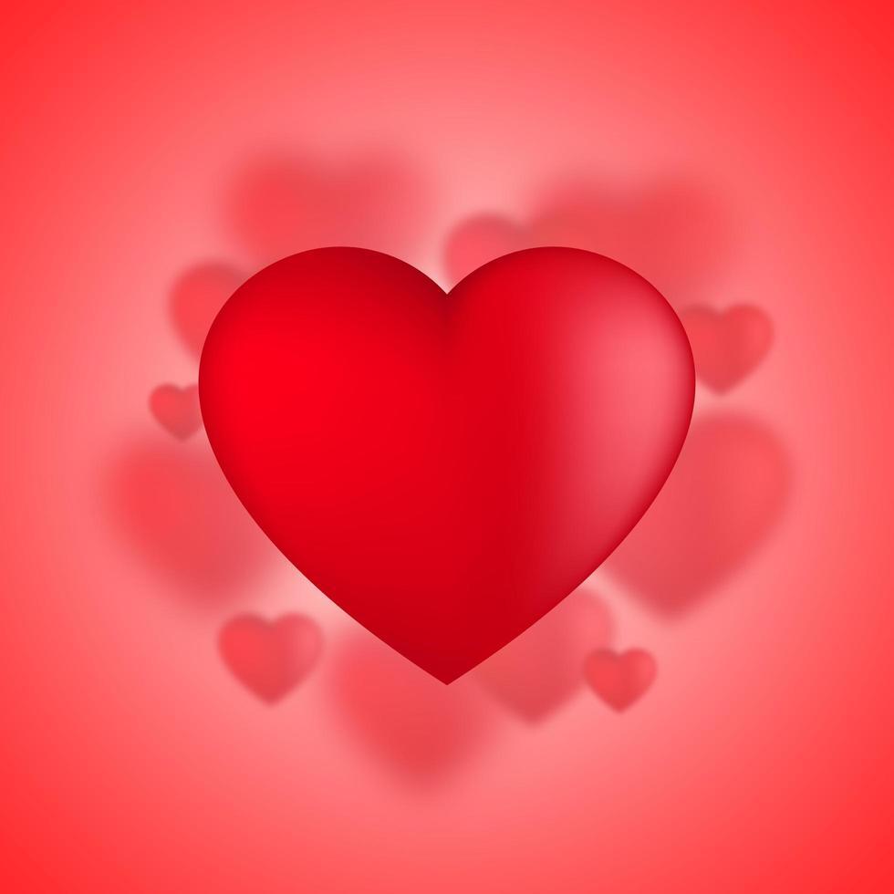 Corações do dia dos namorados, balões de amor sobre fundo vermelho
