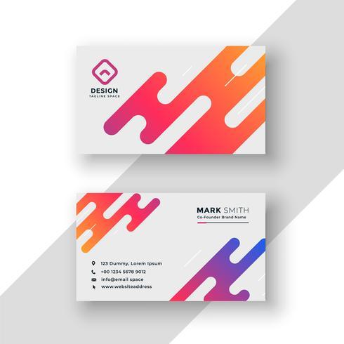 modelo moderno de cartão de visita criativo vibrante