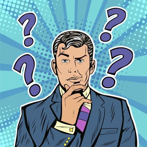 Expressão facial cética de empresário com pontos de interrogação sobre a cabeça