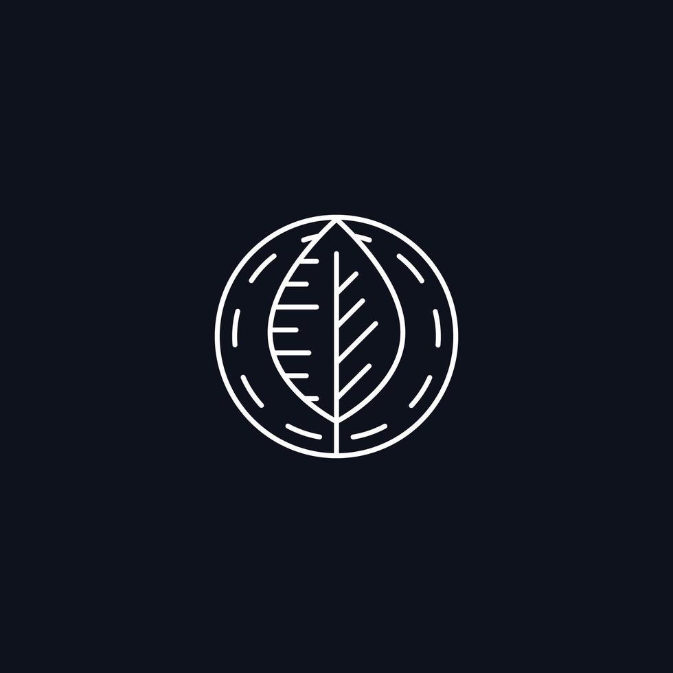 Line Symbol, Leaf in circle, vector design element