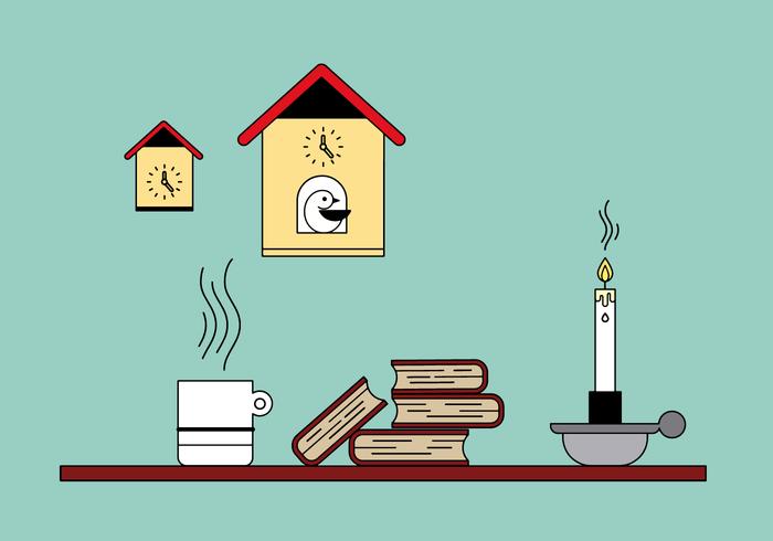 Livros e Relógio de Cuco