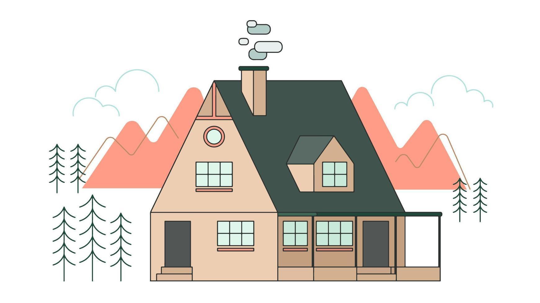 Vettore di casa di montagna