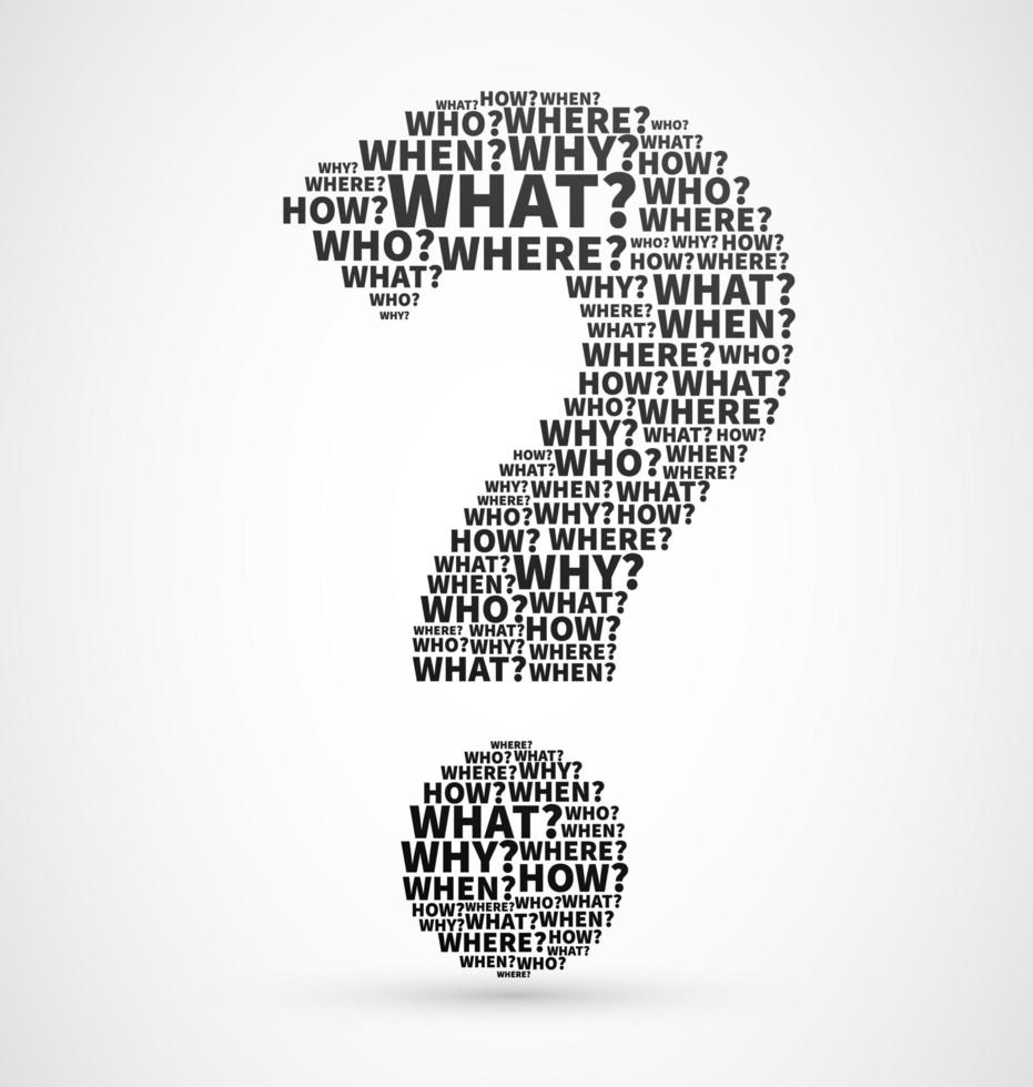 Question mark from Question words vecteur