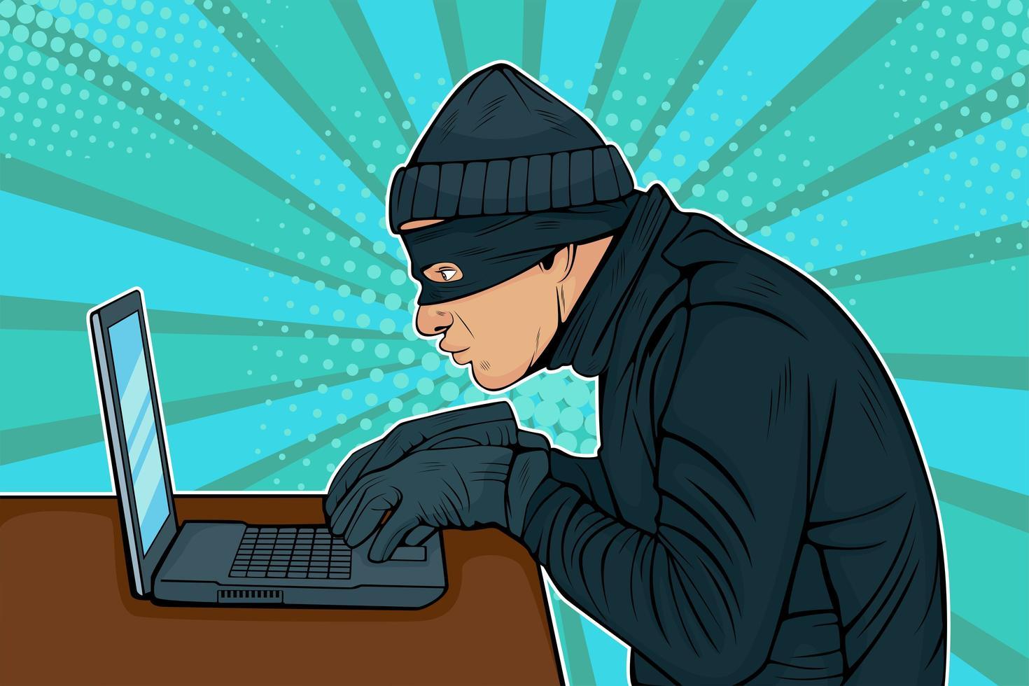 Caucasian hacker thief hacking into a computer vector