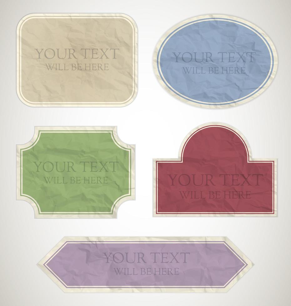 Vintage Crumpled paper labels