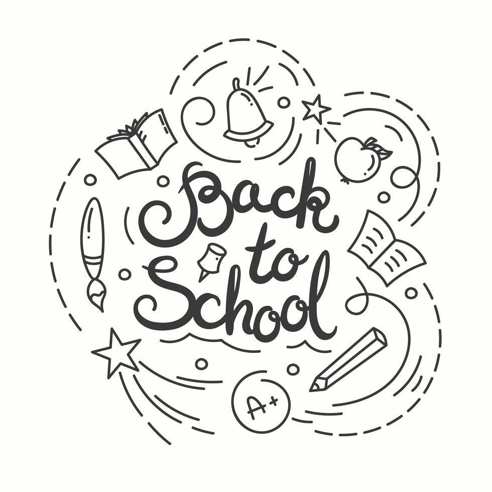 Back to school card. Vector illustration