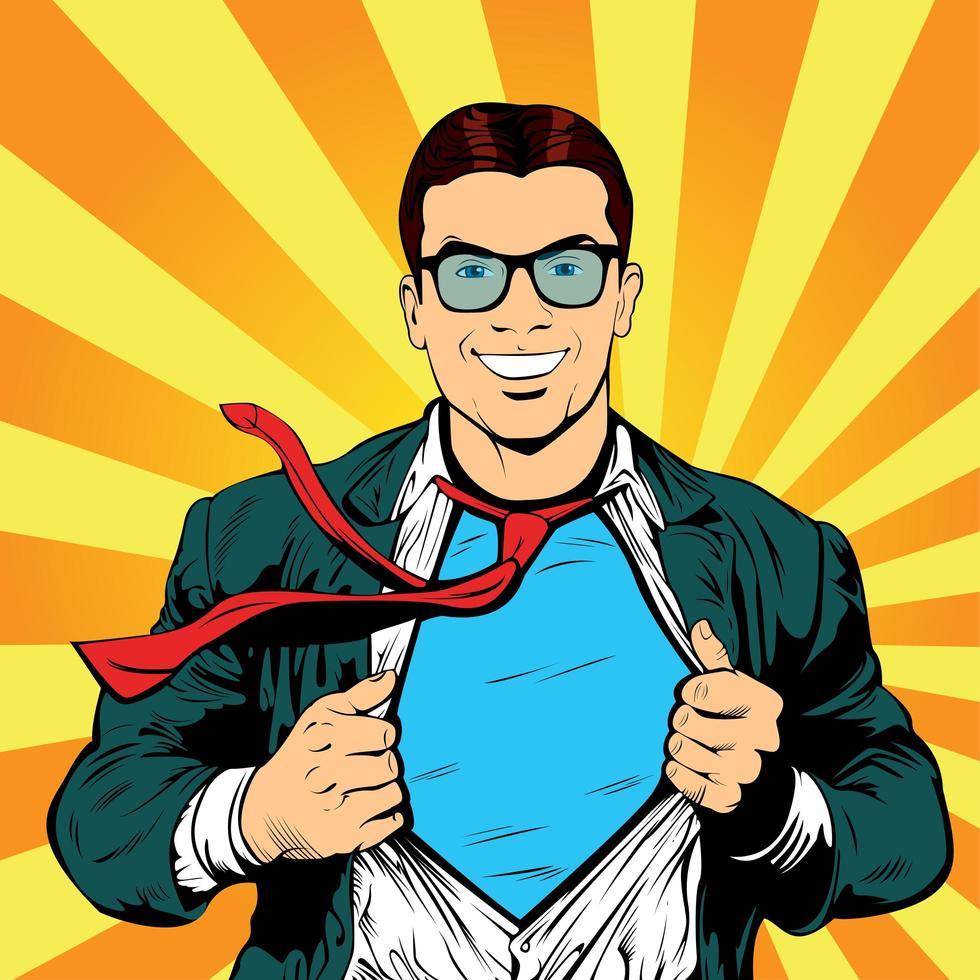 Hombre de negocios superhéroe pop art retro ilustración vectorial