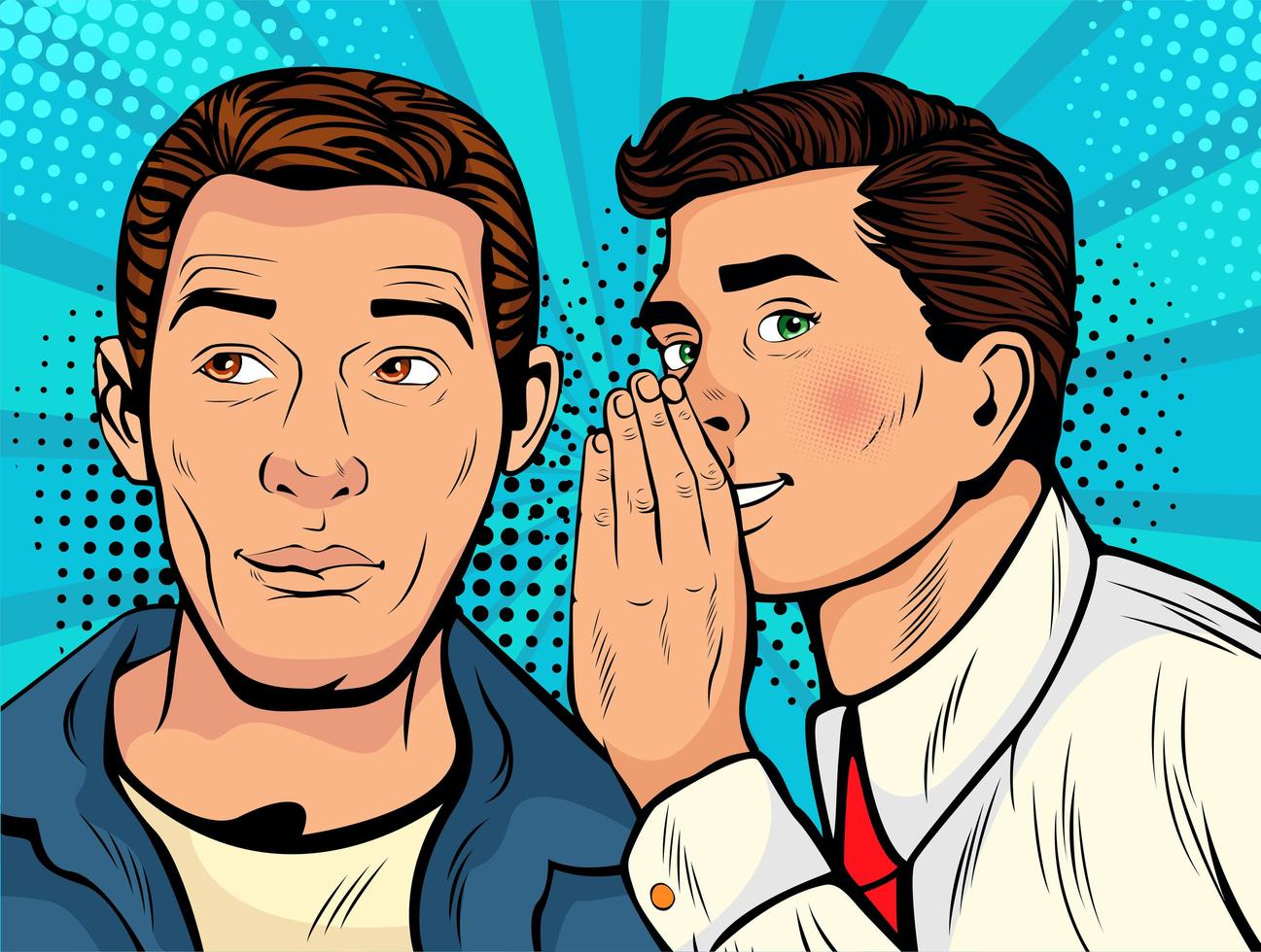 Man whispering gossip or secret to his friend vecteur