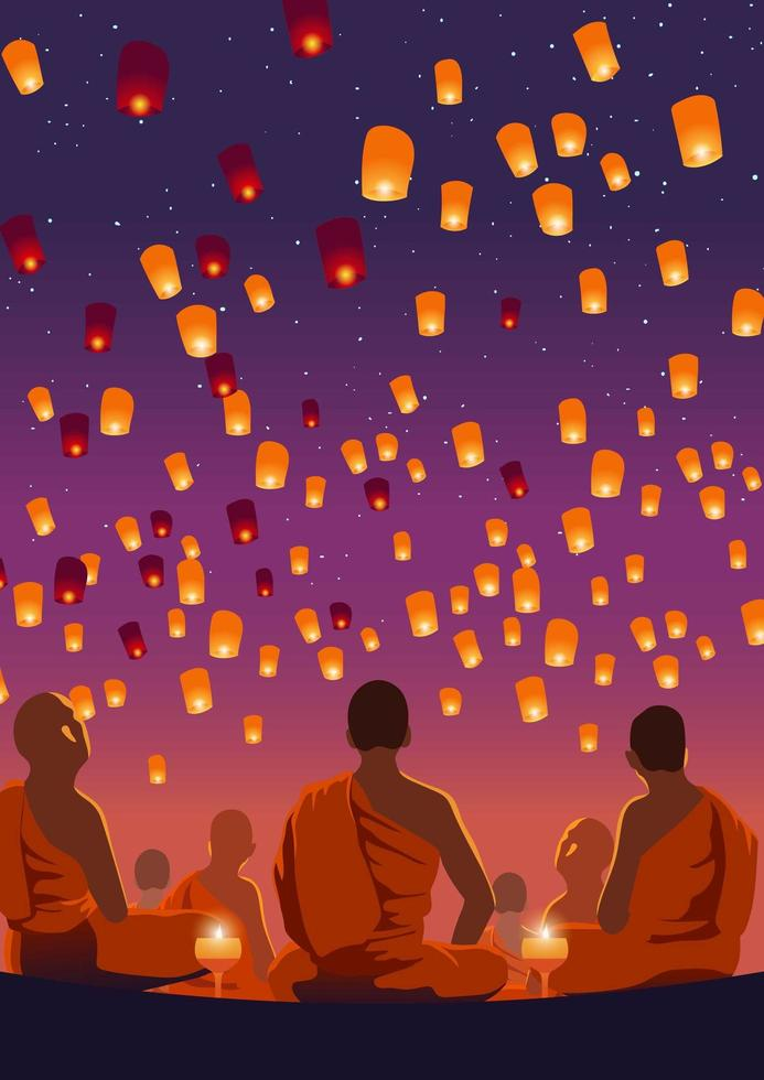Taiwan Sky Lantern Event vettore