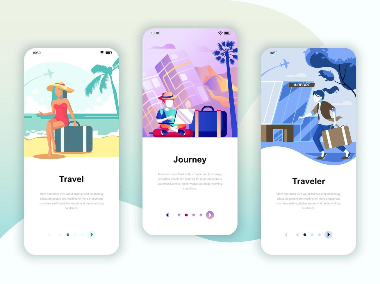 Set of onboarding screens user interface kit for Travel, Journey, Traveler, mobile app templates concept. Modern UX, UI screen for mobile or responsive web site. Vector illustration.