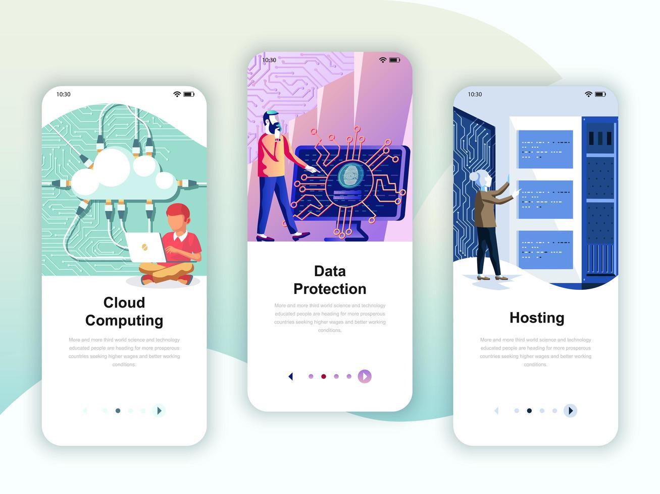 Conjunto de kit de interface de usuário de telas de integração para Cloud Computing, proteção, hospedagem, conceito de modelos de aplicativo móvel. Modern UX, tela de interface do usuário para o site móvel ou responsivo. Ilustração vetorial.