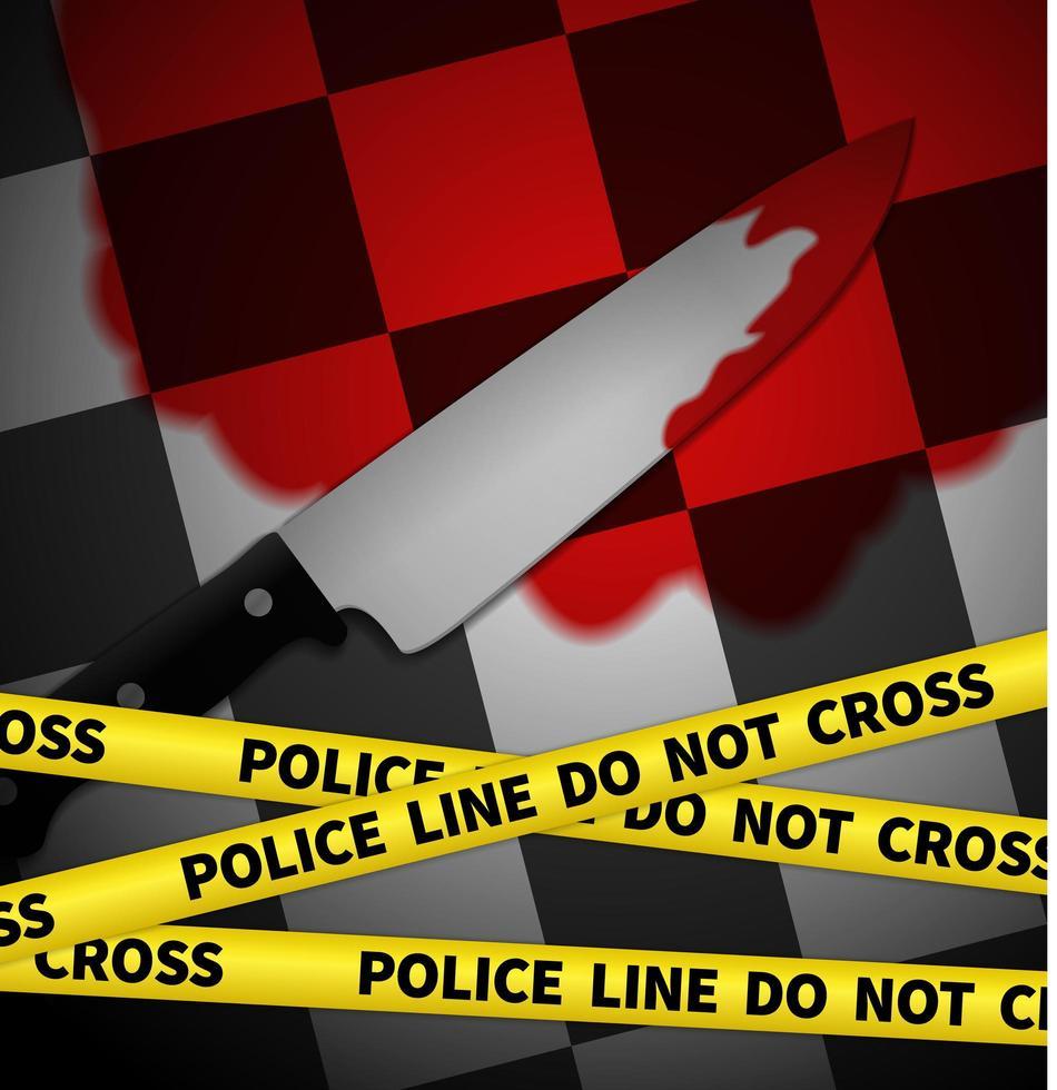 Scène de crime avec du ruban jaune de police, vecteur illustratin graphique