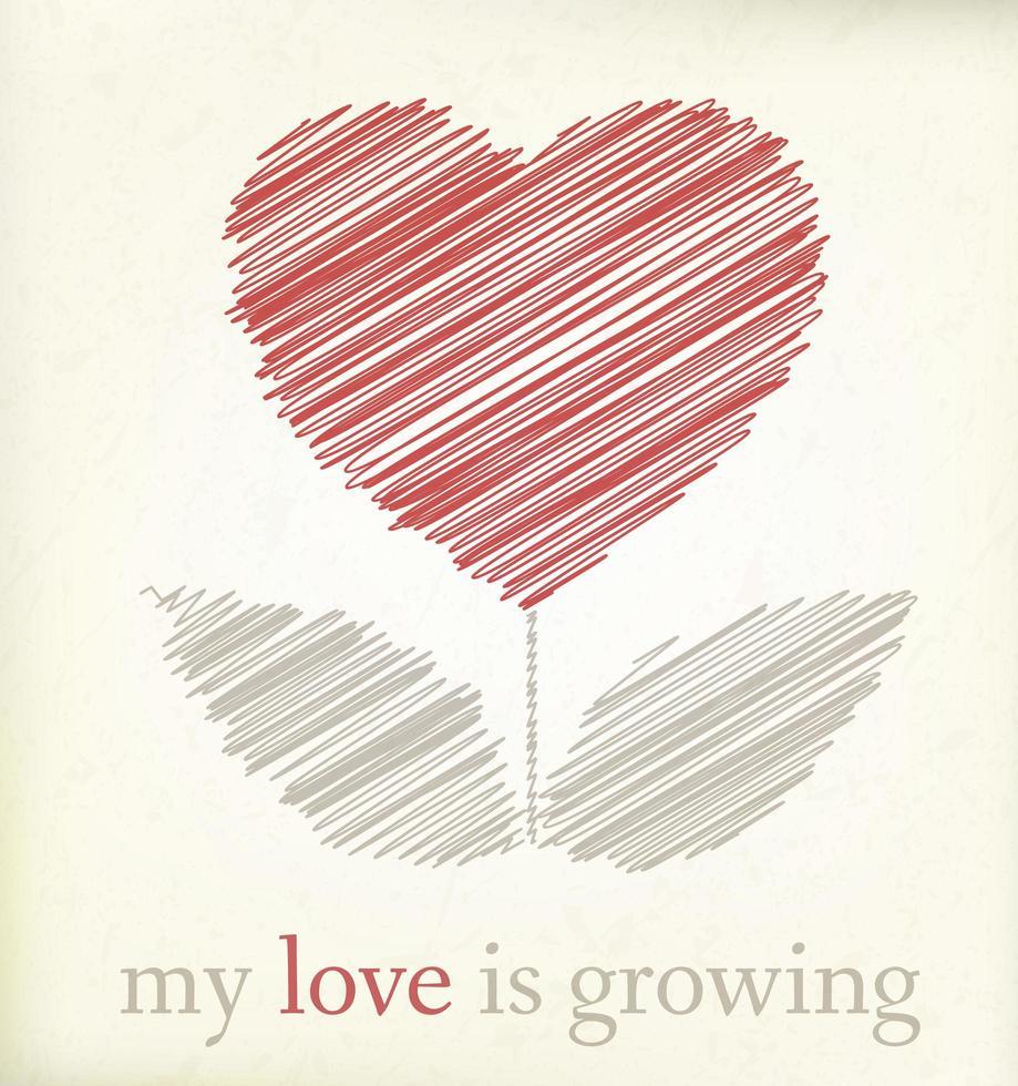 Groeiend hart op vintage papier, grafische illustratin vector