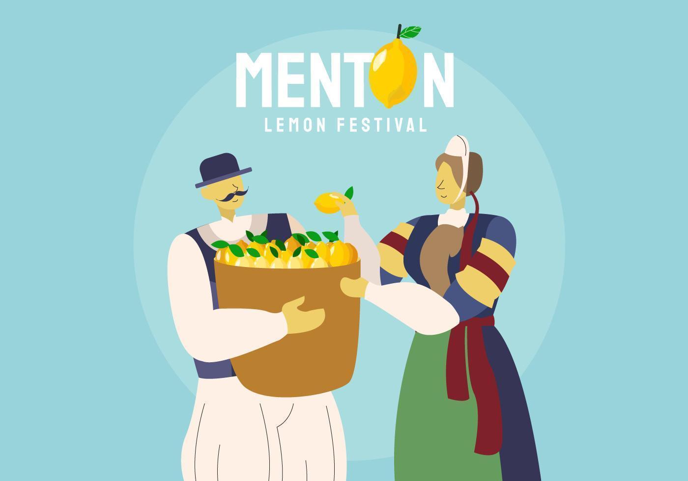 Traditionell bonde på Menton Frankrike Citronfestival Vektorillustration
