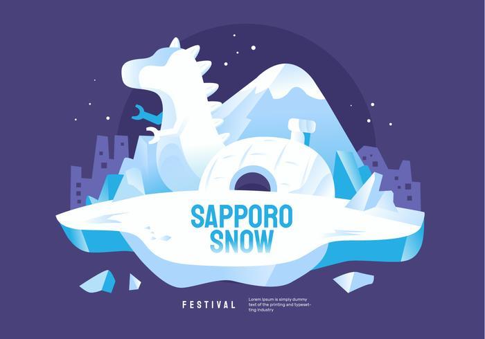 World Wide Sapporo Snow Festival Vector Illustration