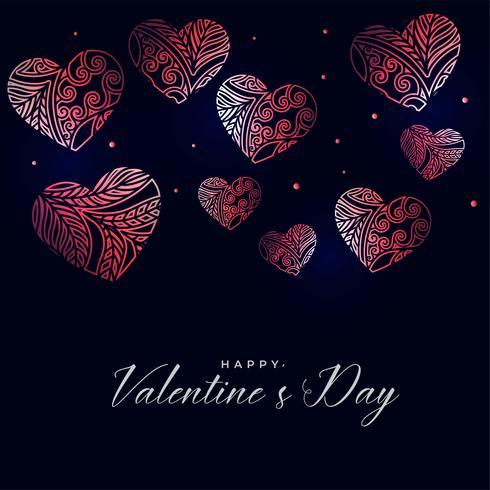 fond sombre Saint Valentin avec des coeurs floraux décoratifs