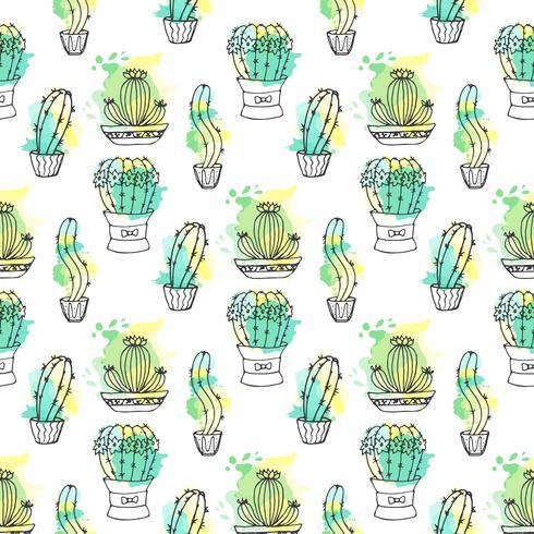 Naadloos vectorpatroon met cactus