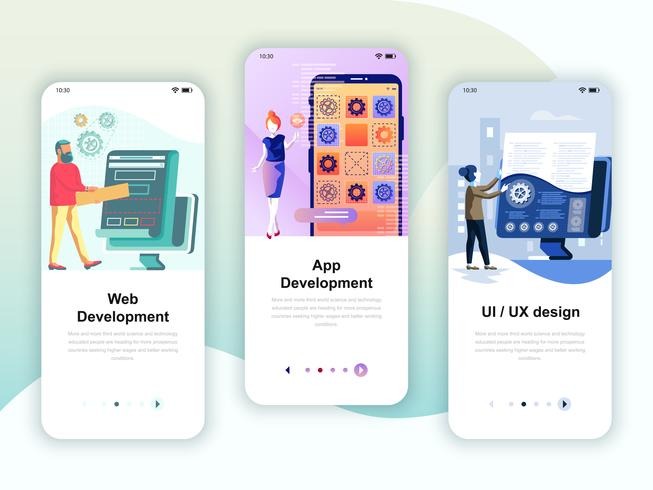 Set of onboarding screens user interface kit for Web and App Development vector