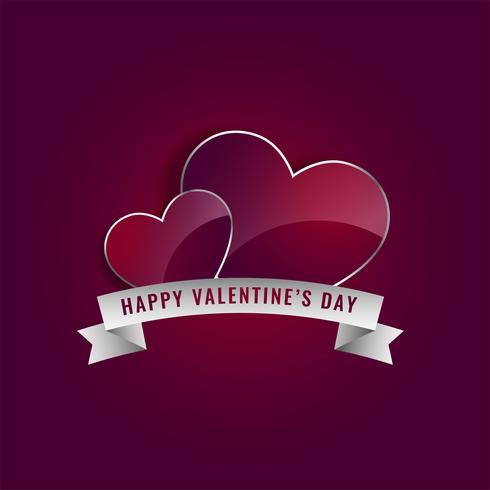 glänzende Herzen mit Band zum Valentinstag