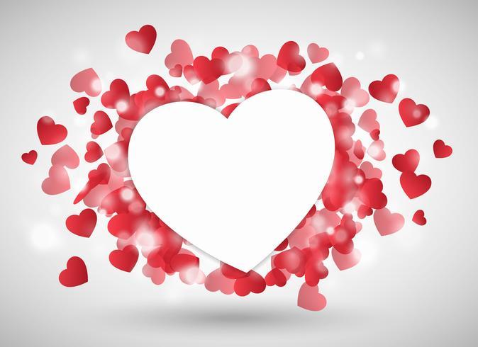Alla hjärtans hjärta som papper framför röda lilla hjärtan