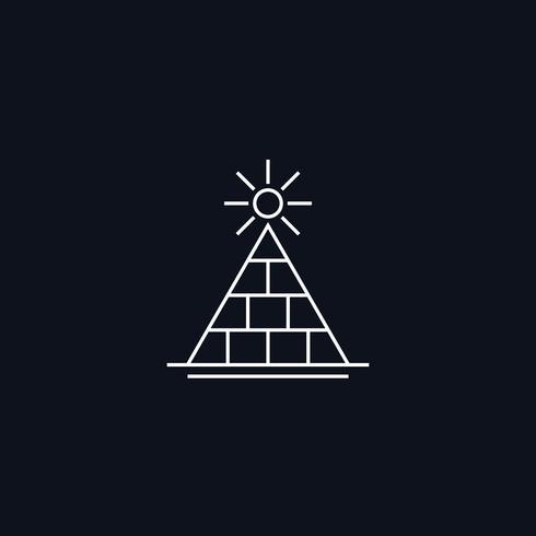Símbolo de linha, pirâmide com sol