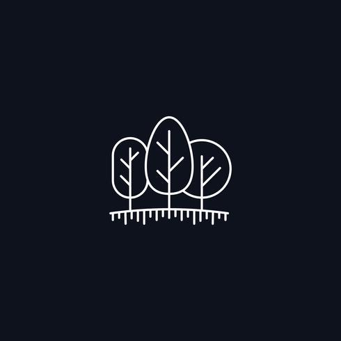 Simbolo di linea, alberi sul prato vettore