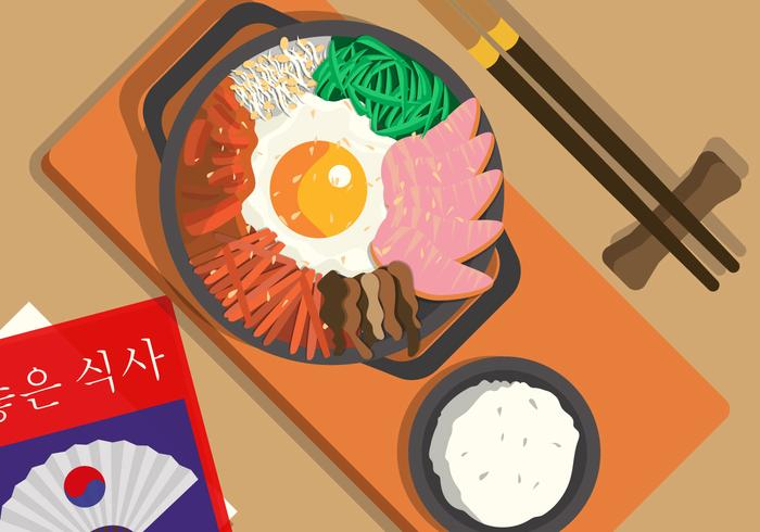 Seoul-Lebensmittel-Draufsichtvektorillustration